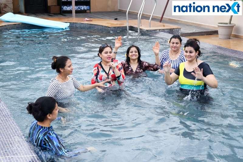 Ladies having a fun time at the Skye Sundowner Pool Party held at Hotel Tuli Imperial in Nagpur