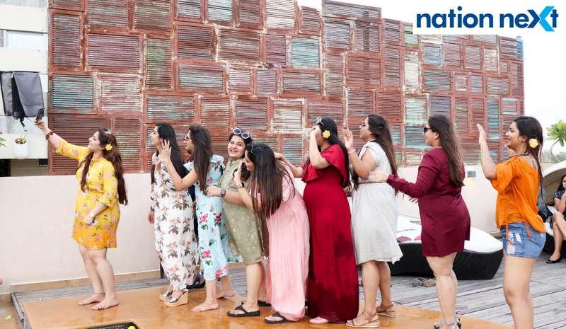 Ladies take a selfie together at the Skye Sundowner Pool Party held at Hotel Tuli Imperial in Nagpur