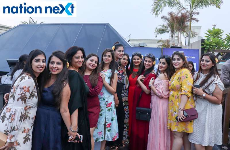 Ladies pose for a picture at the Skye Sundowner Pool Party held at Hotel Tuli Imperial in Nagpur