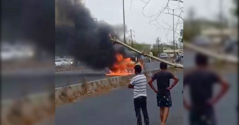 It was a miraculous escape for an Ola cab driver after his Indica car caught fire at Wardha Road near Narayana Vidyalayam, as he stepped out of the car.