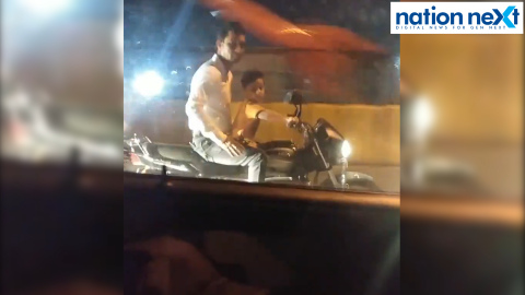 In an extreme case of callousness, a young man in Nagpur was seen encouraging a small kid to ride bike on Ram Jhula on Thursday evening.