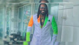 Universal Boss Chris Gayle shared a picture of himself wearing a suit, which he got made specially for the India-Pakistan World Cup match.