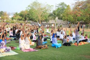 On occasion of 5th International Yoga Day, clothing chain Shree Shivam in association with JCI organised a one-hour-long Yoga session in Nagpur.