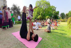 On the eve of International Yoga Day, world's smallest living woman Jyoti Amge took part in a yoga session in Nagpur on Thursday.