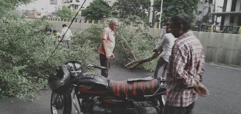 Nagpur youngster named Rohit Gawande was rushed to a nearby hospital after a huge tree fell on him due to thunderstorm on Saturday evening.