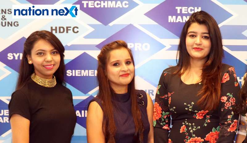 Nidhi Bhalerao, Priti Tiwari and Priyanka Dhanvijay at the fashion show organised by Aptech Aviation Academy in Nagpur