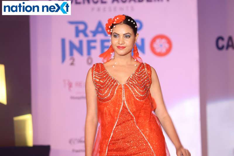 A model walks the ramp during Cadence Academy's 'Ramp Inferno 2019' held at Suresh Bhat Auditorium in Nagpur