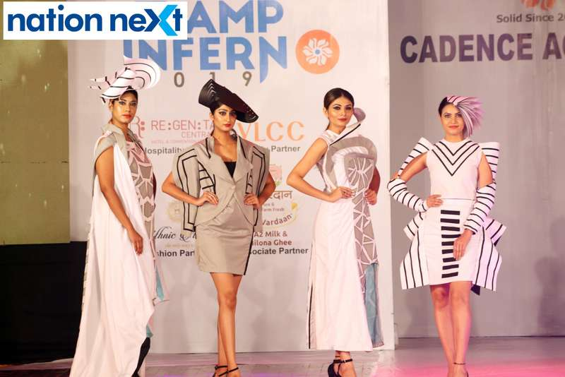Models walk the ramp during Cadence Academy's 'Ramp Inferno 2019' held at Suresh Bhat Auditorium in Nagpur