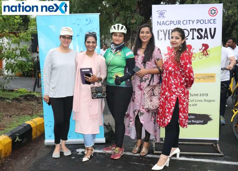 Jyoti Kapoor, Sonali Nakshine, Deepanti Pal, Ekta Bhaiya and RJ Nisha during 'Cyclotsav' organised by Nagpur Police