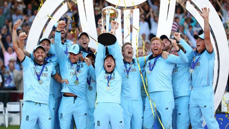 England team poses with World Cup trophy after defeating New Zealand in the ICC Cricket World Cup 2019 final held at Lord's in London.