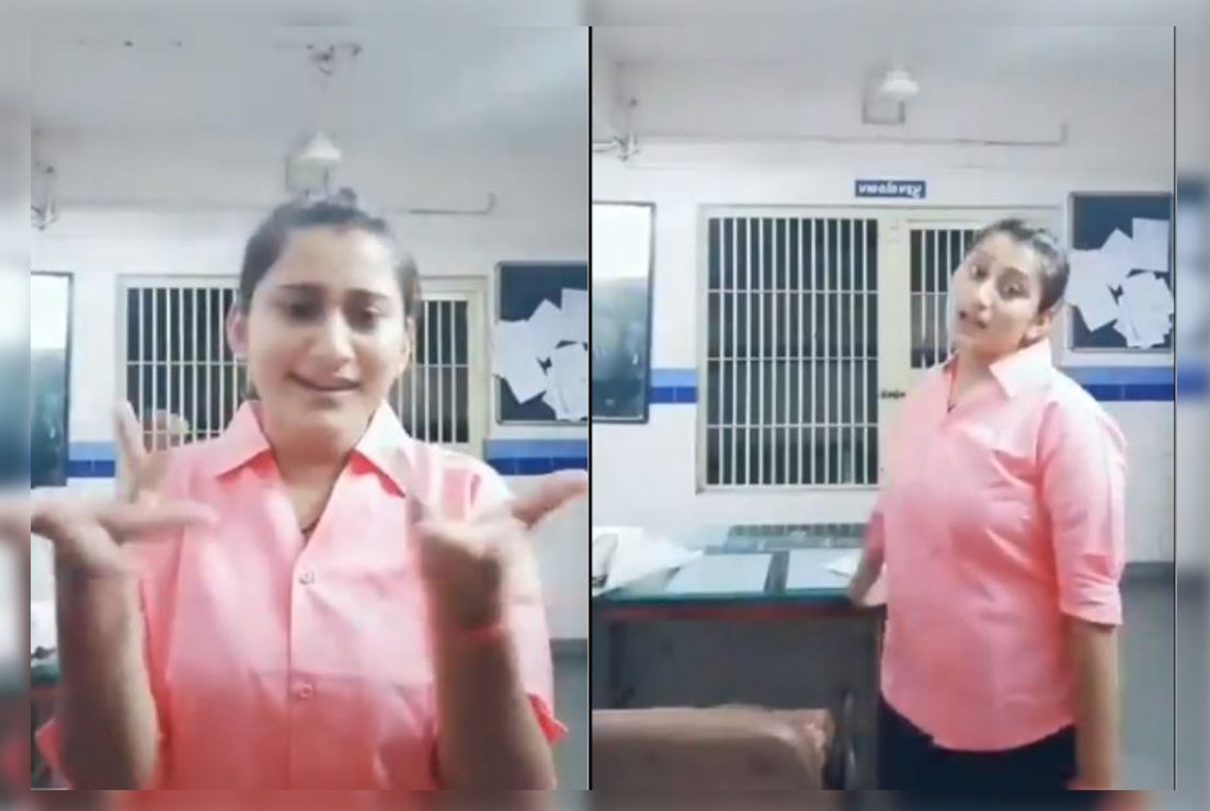 A young policewoman from Gujarat was suspended after a video of her dancing to a Bollywood song in a TikTok video went viral.