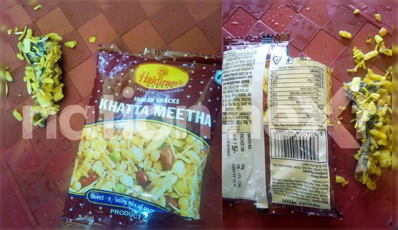 Nagpur man named Surendra Inwate (41) discovered a dead lizard in a five rupees packet of its popular snack - Khatta Meetha - of Haldiram's today afternoon.