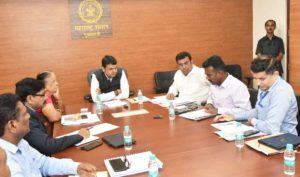 Maharashtra CM Devendra Fadnavis and Guardian Minister (Bhandara and Gondia) Parinay Fuke along with others during a meeting in Mumbai.