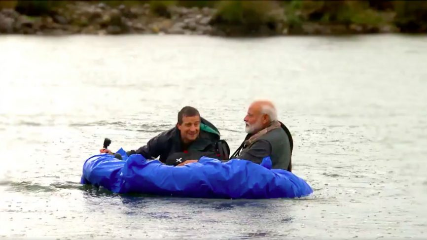 Bear Grylls and Prime Minister Narendra Modi in a screengrab of the teaser of the show Man Vs Wild