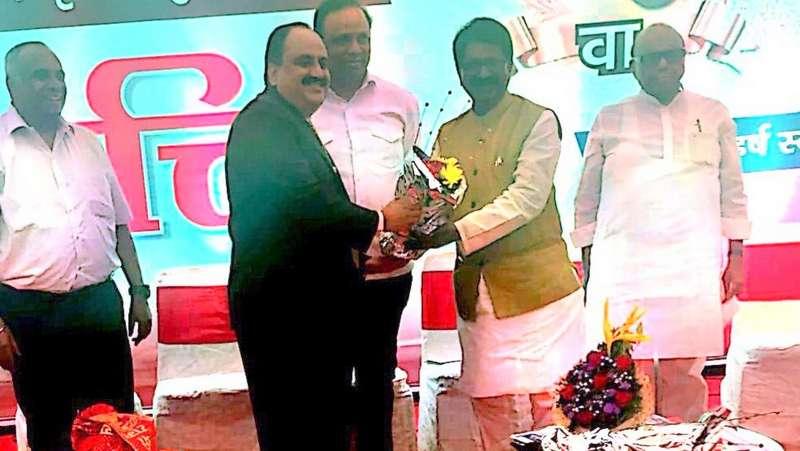 Cabinet Minister Arvind Sawant feliciates VICCO's Sanjeev Pendharkar