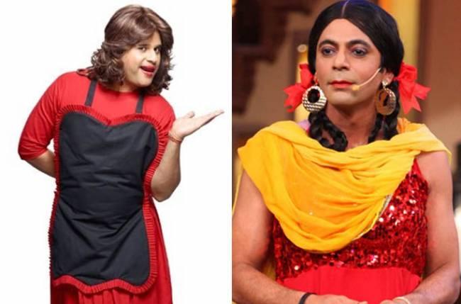 Krushna Abhishek as 'Sapna' (left) and Sunil Grover as 'Gutthi' (left)