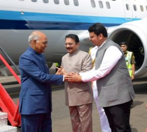 Maharashtra CM Devendra Fadnavis accorded a warm welcome to President of India Ram Nath Kovind at Dr Babasaheb Ambedkar International Nagpur Airport today.