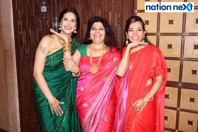 Apeksha Kongovi Munde, Mala Munde and Swati Munde Thakkar during the Goddess Mahalaxmi Mahaprasad hosted by Munde family in Nagpur