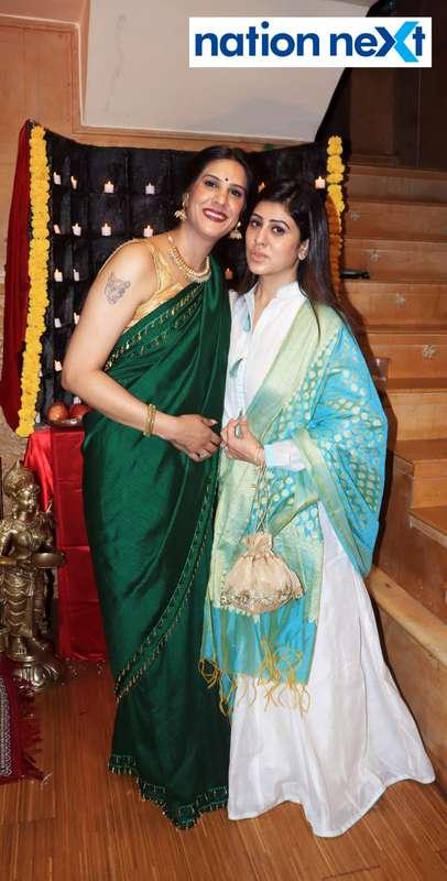 Apeksha Kongovi Munde and Ritu Kukreja during the Goddess Mahalaxmi Mahaprasad hosted by Munde family in Nagpur