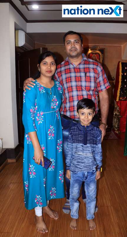 Kalpana and Prashant Raut during the Goddess Mahalaxmi Mahaprasad hosted by Munde family in Nagpur