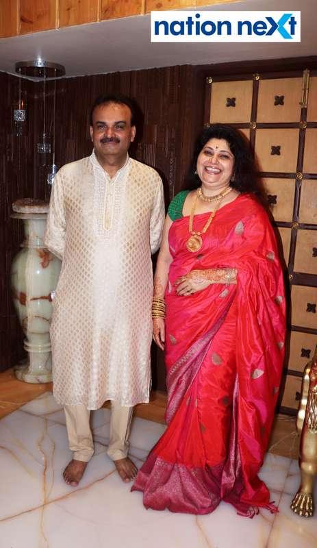 Satish and Mala Munde during the Goddess Mahalaxmi Mahaprasad hosted by Munde family in Nagpur