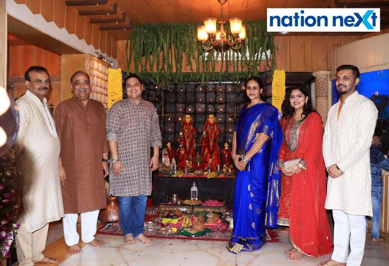 Satish Munde, Ajay Sancheti, Nirbhar Sancheti, Savita Sancheti, Ravina Sancheti and Swapnil Munde during the Goddess Mahalaxmi Mahaprasad hosted by Munde family in Nagpur