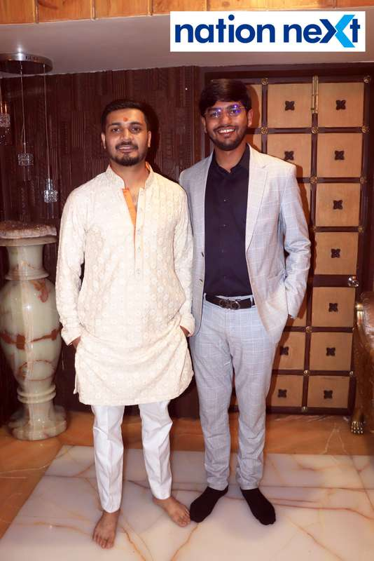 Swapnil Munde and Sanket Bawankule during the Goddess Mahalaxmi Mahaprasad hosted by Munde family in Nagpur