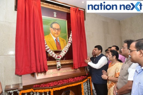 Devendra Fadnavis unveiled an oil portrait of Dr Babasaheb Ambedkar and Preamble of Indian Constitution at Mantralaya in Mumbai on Monday.