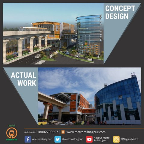 Nagpur Metro on its official Twitter handle posted images of concept deisgn and actual work photos of Airport South Station.