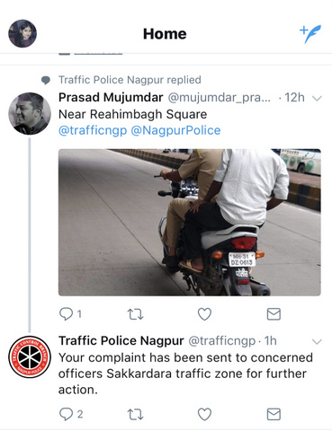 Nagpur Traffic Police on Tuesday filed a complaint after a user tweeted a photo of Nagpur cop riding a bike without helmet.