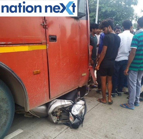 Man riding an activa two-wheeler got crushed under an Aapli Bus today morning (September 11, 2019) on Kamptee-Bhilgaon road.