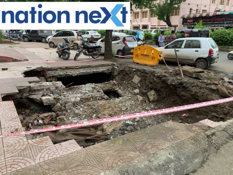 Few days back, a car toppled inside a sinkhole after a footpath collapsed due to torrential rains opposite Somalwar High School in Ramdaspeth at Nagpur.