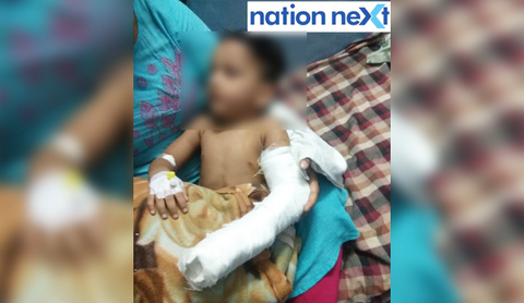 Two-and-half-year-old Nirzar Ingle was rushed to hospital after his index finger got stuck in the door at Bachpan Play School in Nagpur.