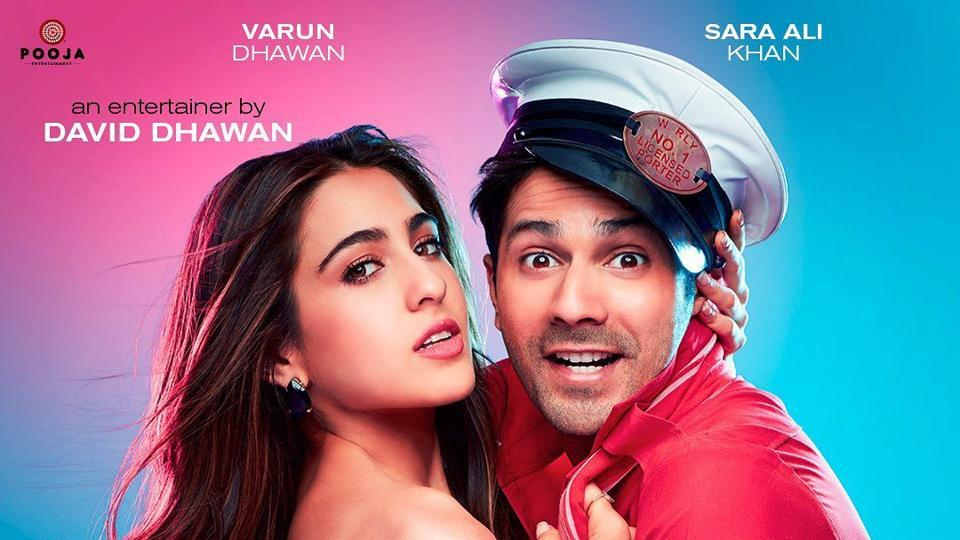 Sara Ali Khan and Varun Dhawan in the poster of the film Coolie No. 1