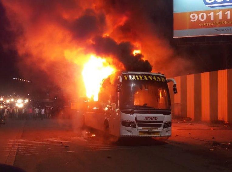A bus travelling from Pune to Nagpur caught fire near Ramwadi Octroi Naka on Pune-Ahmednagar Highway on Thursday night (September 5, 2019).