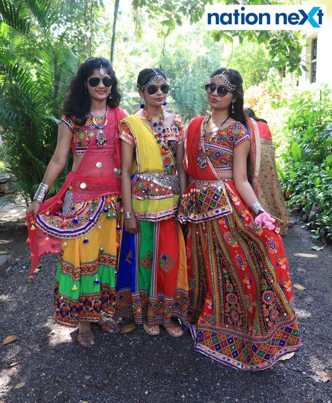 Ayushi Jain, Sneha Tagde and Nikhat Ansari during 'Ras Garba' held at LAD college in Nagpur