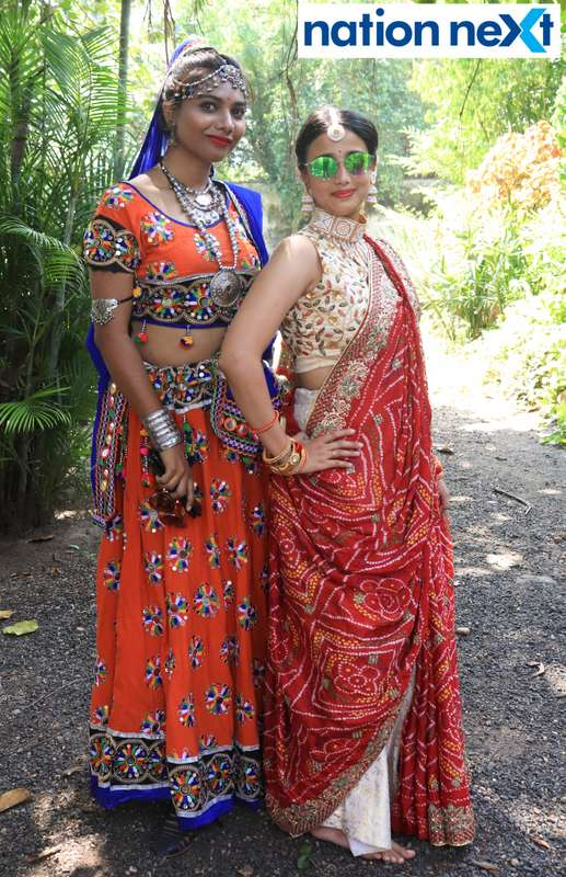 Pravina Dhepe and Renuka Sharma during 'Ras Garba' held at LAD college in Nagpur