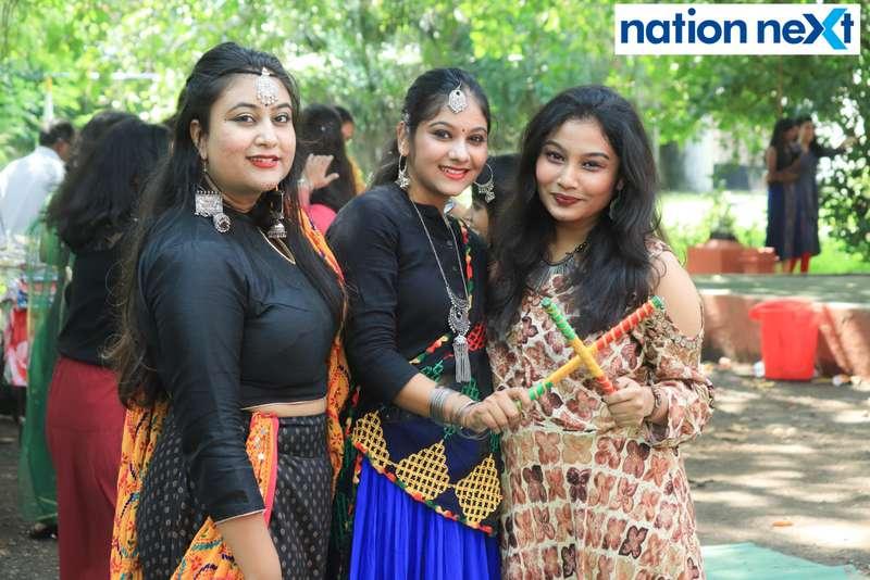 Priyanka Baral, Radhika Kavimandan and Prajakta Sapre during 'Ras Garba' held at LAD college in Nagpur