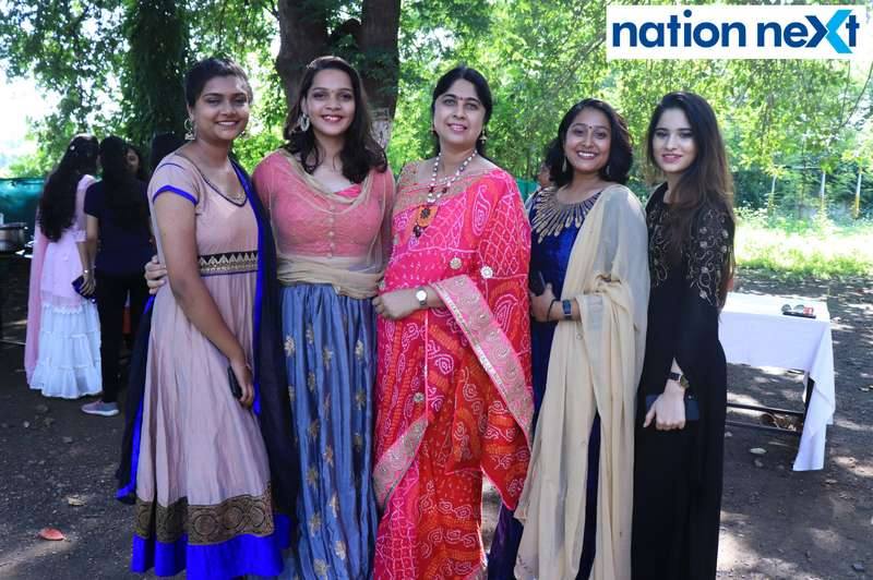 Sanika Ghotekar, Khushboo Sonkusre, Dr Nandita Sapra, Nishita Awandekar and Tanzila Aknani during 'Ras Garba' held at LAD college in Nagpur