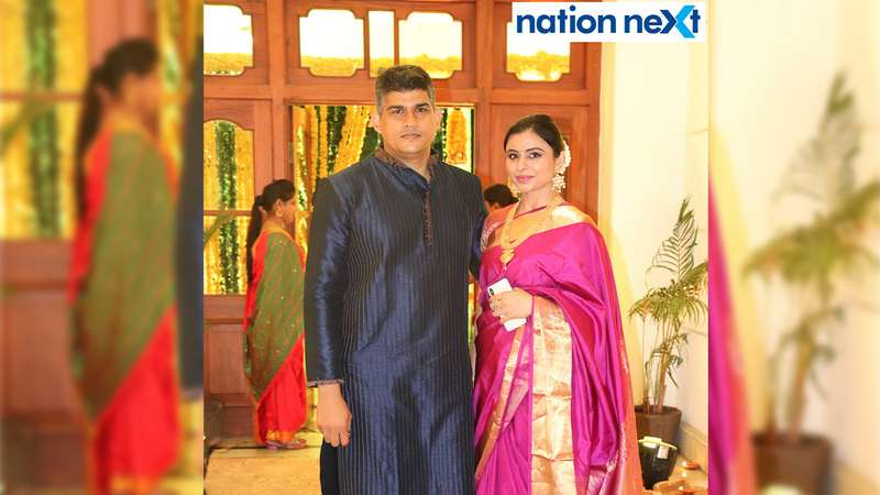 Shaailesh and Sneha Dhobley at the Diwali party held at Gondwana Club in Nagpur