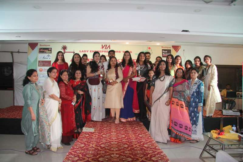 The team members of VIA LEW during 'Abhinav Khadi' fashion show held in Nagpur