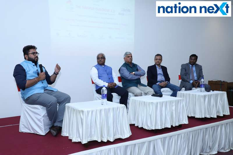 Malhar Deshpande in conversation with panelists at The Nagpur Dialogue 2.0 held at Chitnavis Centre in Nagpur.
