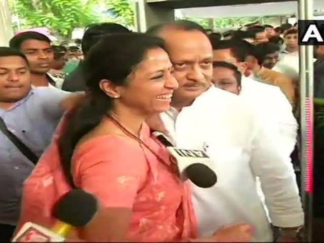 Supriya Sule and cousin Ajit Pawar were seen hugging each other, putting aside all the speculations of a rift between the two.