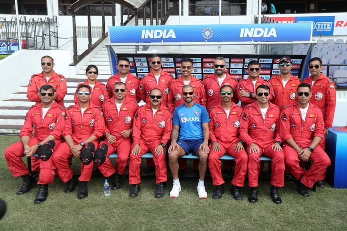 Shikhar Dhawan with Suryakiran Aerobatic Team at VCA Jamtha Stadium in Nagpur.
