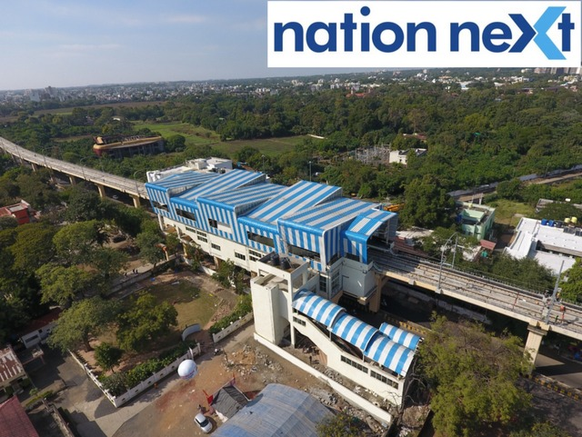 In Pictures: Drone captured beautiful images of the Jhansi Rani Metro Station, running on the aqua line, situated in Nagpur.