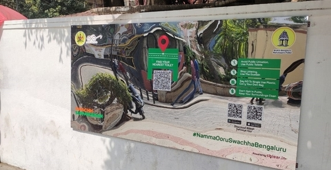 Bruhat Bengaluru Mahanagara Palike (BBMP) has installed large mirrors with QR codes on public walls to avoid open defacation.