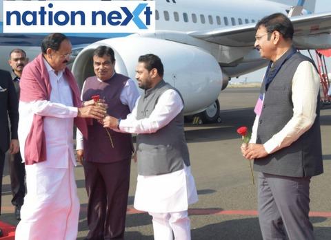 Guardian Minister Nitin Raut along with Union Minister Nitin Gadkari welcomed Vice-President of India Venkaiah Naidu at Nagpur airport today morning.