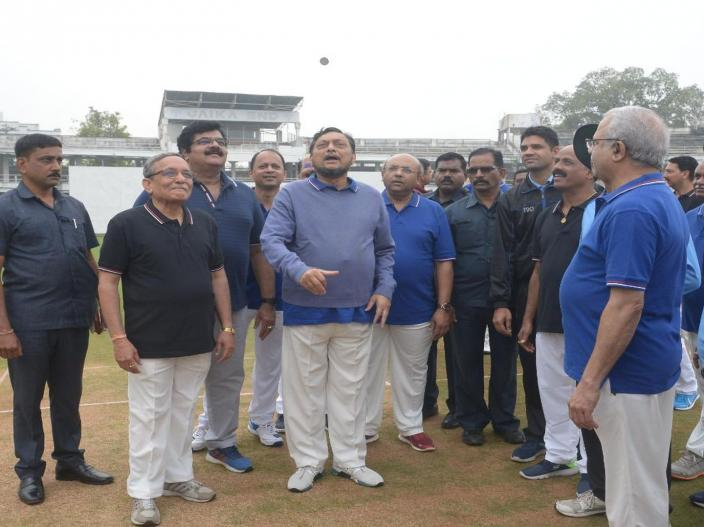 CJI Sharad Bobde during the toss during a match between Judges XI and HCBA President XI held at VCA Stadium in Civil Lines in Nagpur.