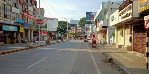 Nagpur's famous street at Dharampeth sports a deserted look due to the Coronavirus threat in the city as well as the world.