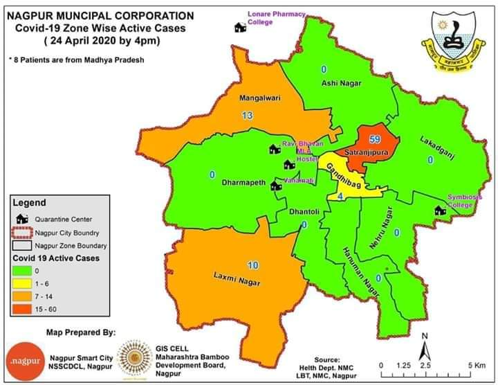 Nagpur Municipal Corporation (NMC) through a map has provided details on zone wise active COVID-19 cases in Nagpur as on April 24th.